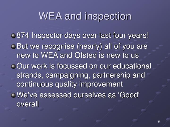 WEA and inspection