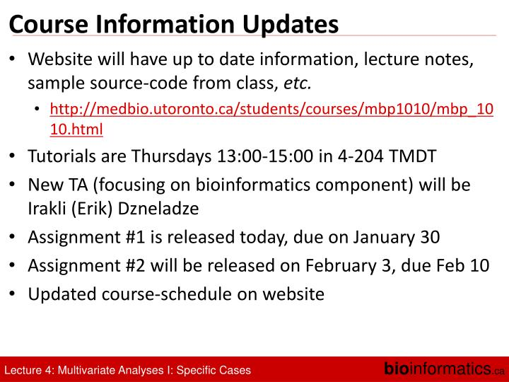Course Information Updates
