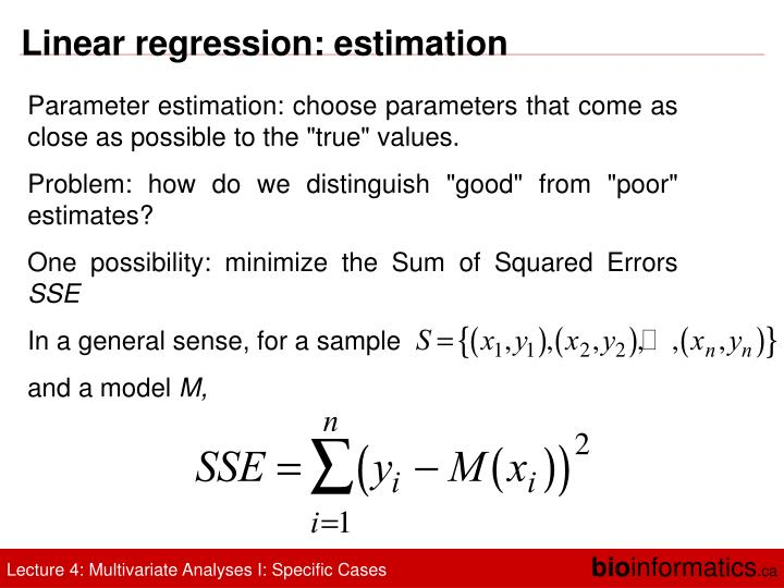 Linear regression: estimation