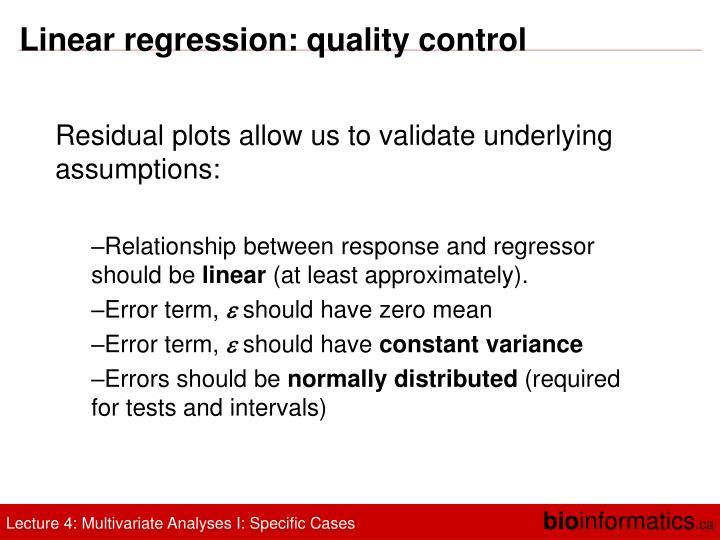 Linear regression: quality control