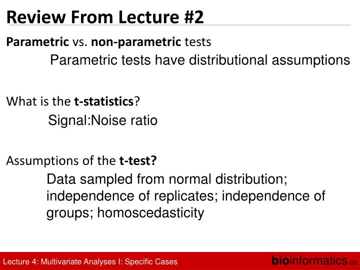 Review From Lecture #2