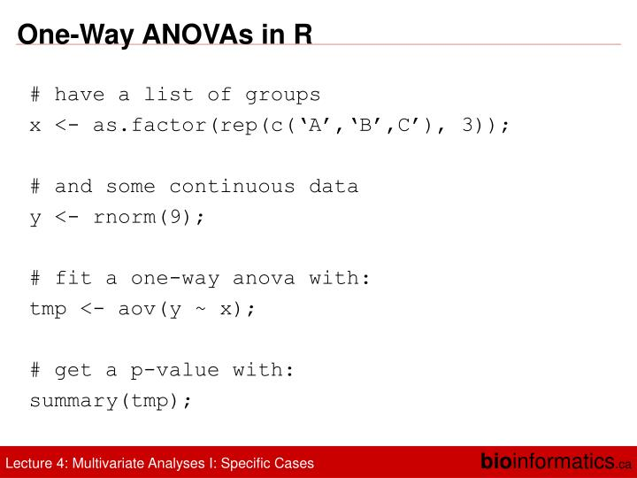One-Way ANOVAs in R