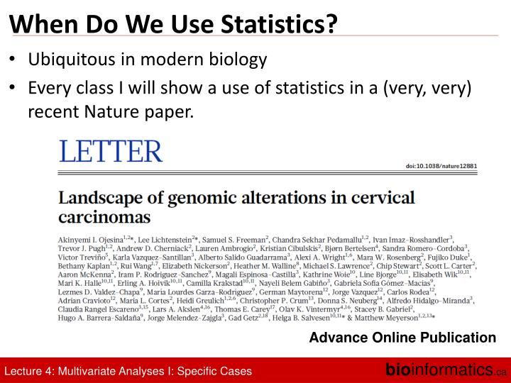 When Do We Use Statistics?
