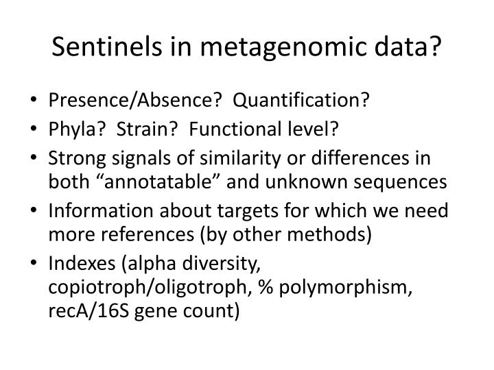 Sentinels in metagenomic data