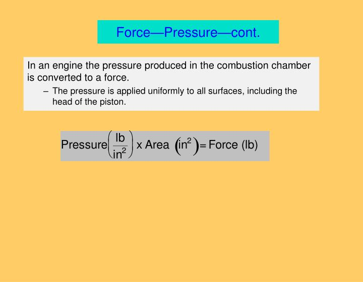 Force—Pressure—cont.
