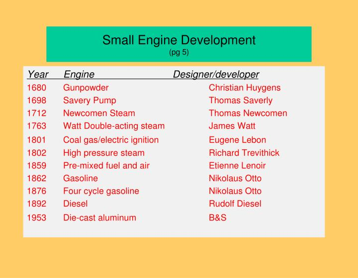 Small Engine Development