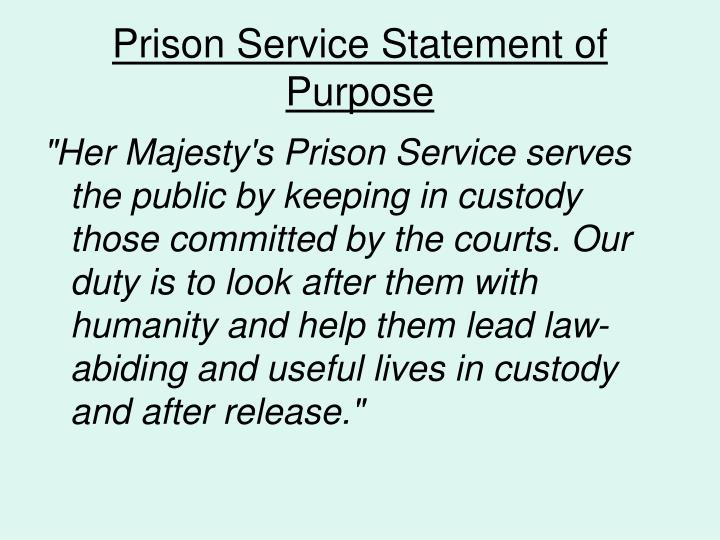 Prison service statement of purpose