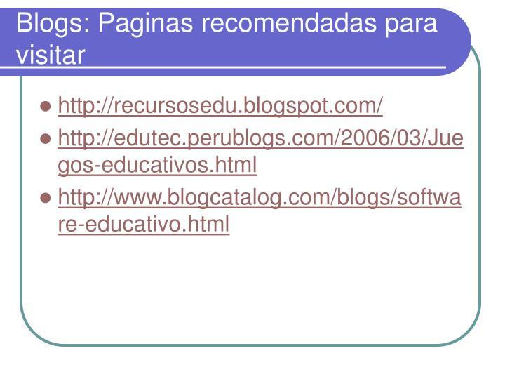 Blogs: Paginas recomendadas para visitar