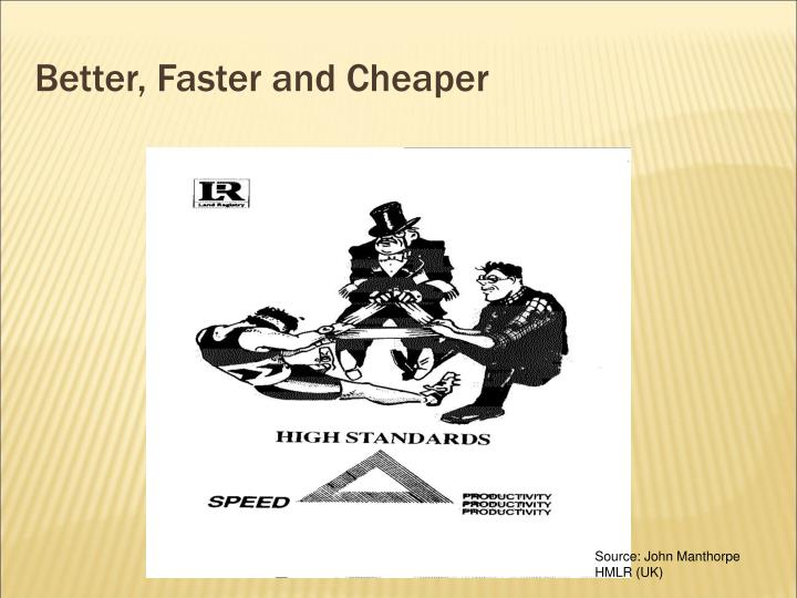 Better, Faster and Cheaper