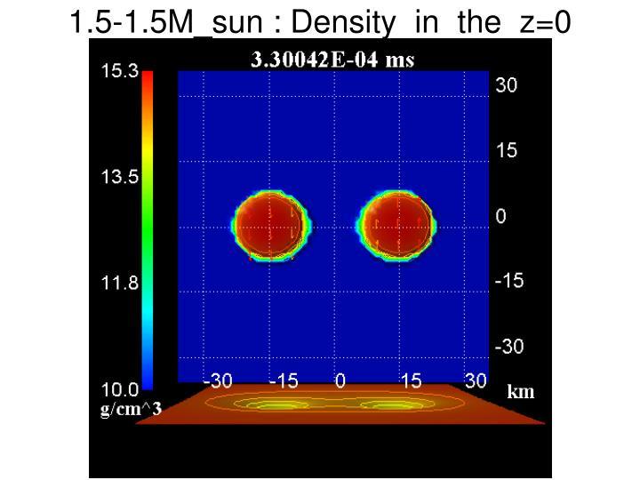 1.5-1.5M_sun : Density  in  the  z=0