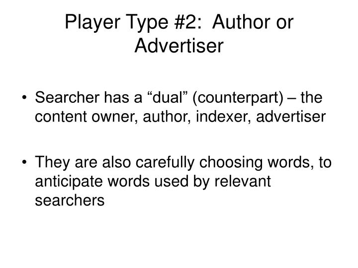 Player Type #2:  Author or Advertiser