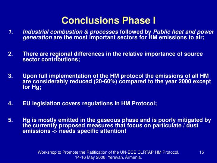 Conclusions Phase I
