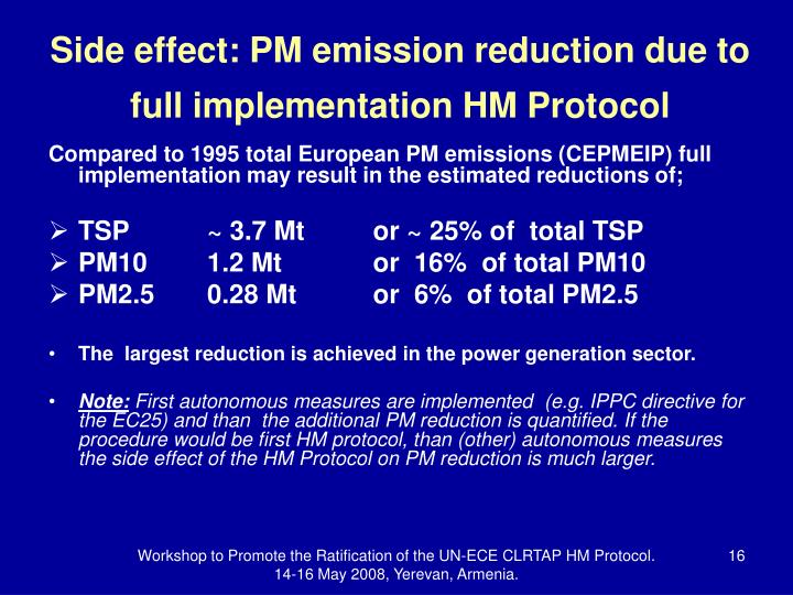 Side effect: PM emission reduction due to