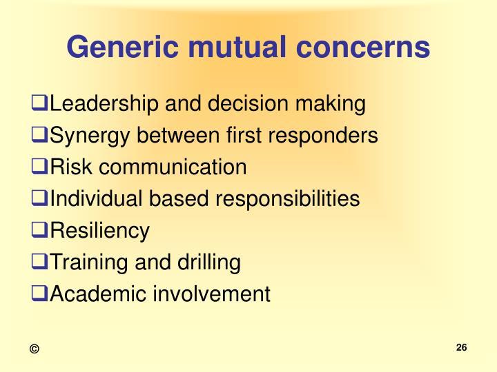 Generic mutual concerns