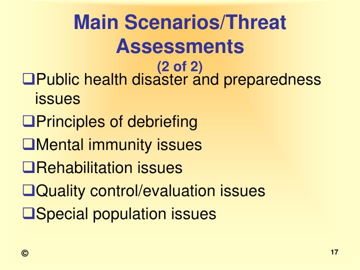 Main Scenarios/Threat Assessments