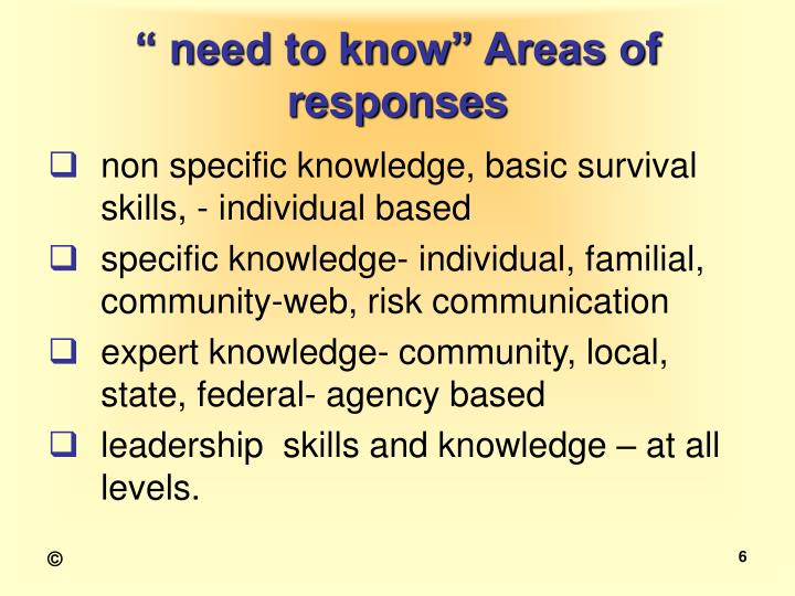 """"""" need to know"""" Areas of responses"""