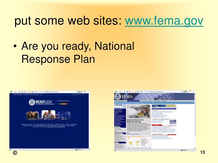 put some web sites:
