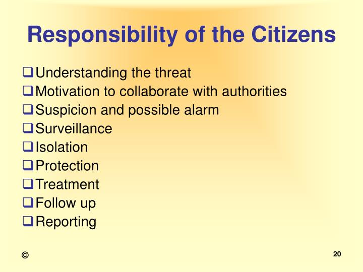 Responsibility of the Citizens