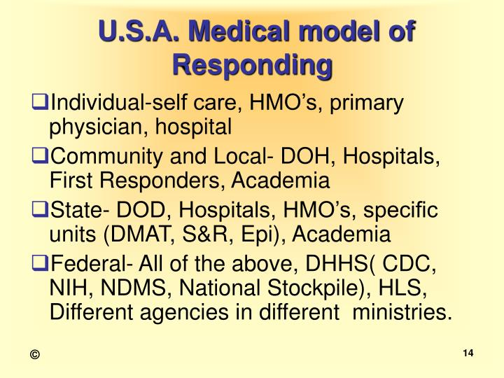 U.S.A. Medical model of Responding