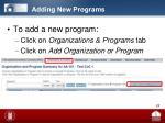 adding new programs