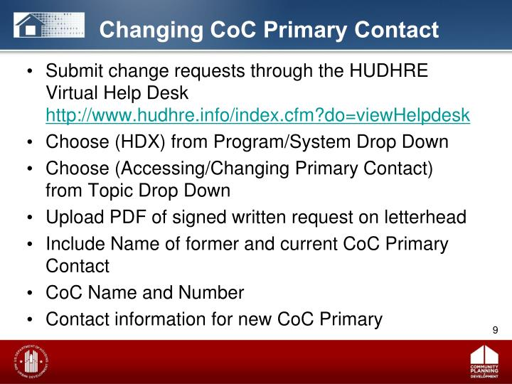 Changing CoC Primary Contact
