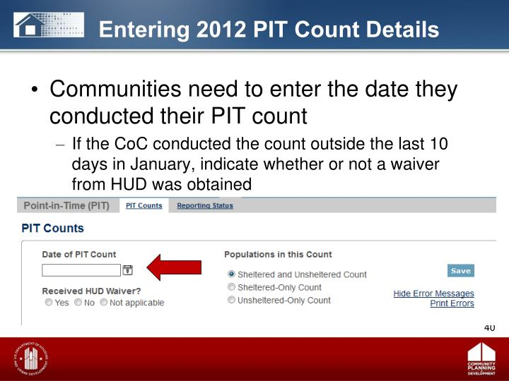 Entering 2012 PIT Count Details