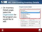 hic edit existing inventory details