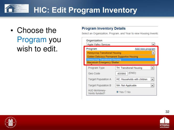 HIC: Edit Program Inventory