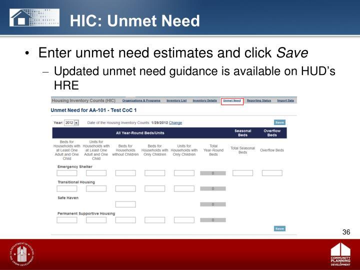 HIC: Unmet Need