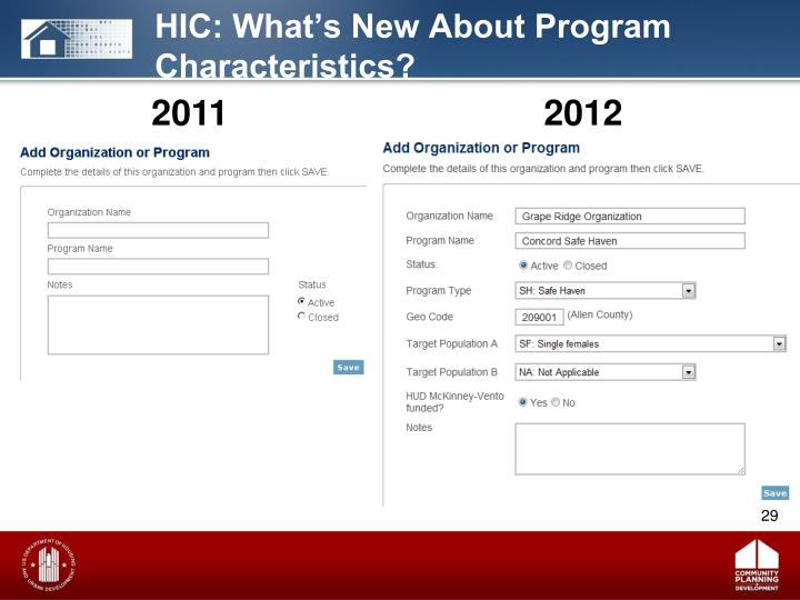 HIC: What's New About Program Characteristics?