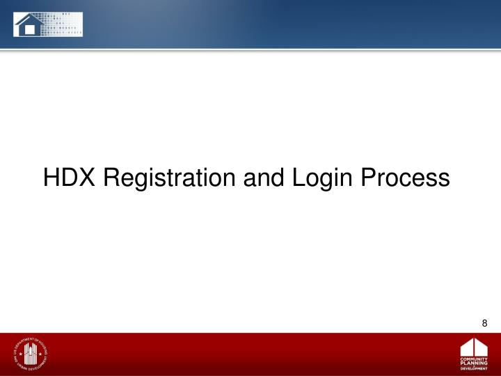 HDX Registration and Login Process
