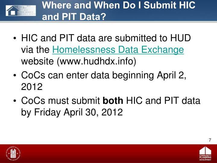 Where and When Do I Submit HIC and PIT Data?