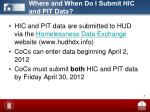 where and when do i submit hic and pit data