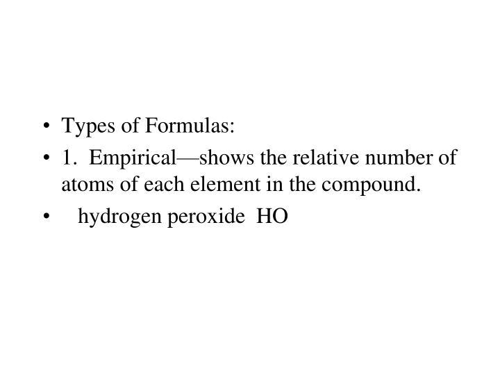 Types of Formulas: