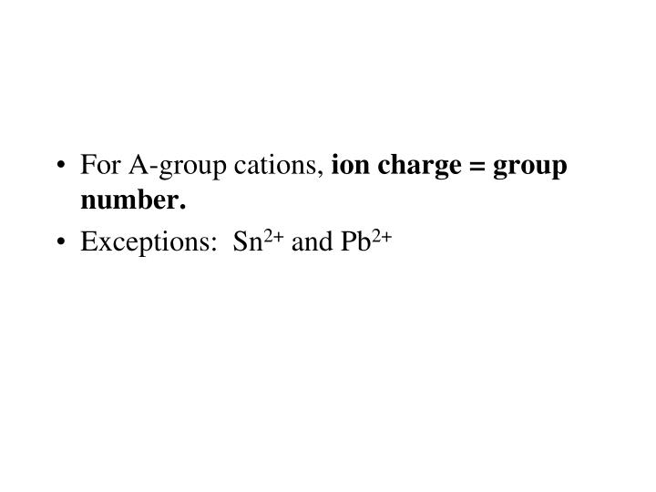 For A-group cations,