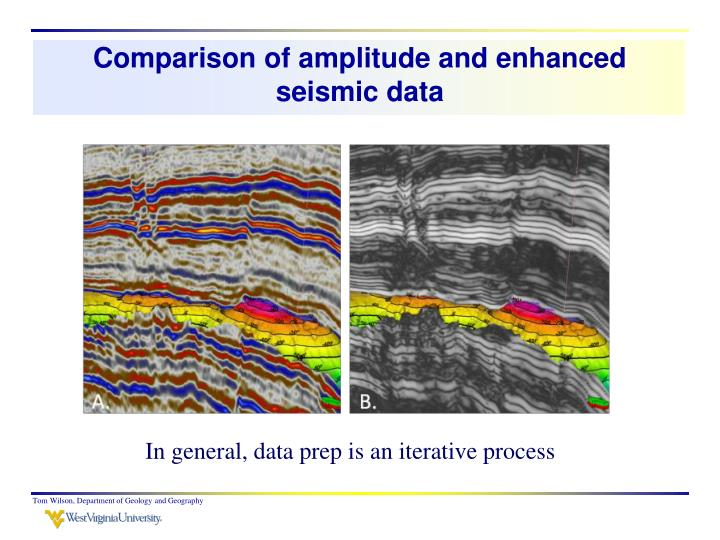 Comparison of amplitude and enhanced seismic data