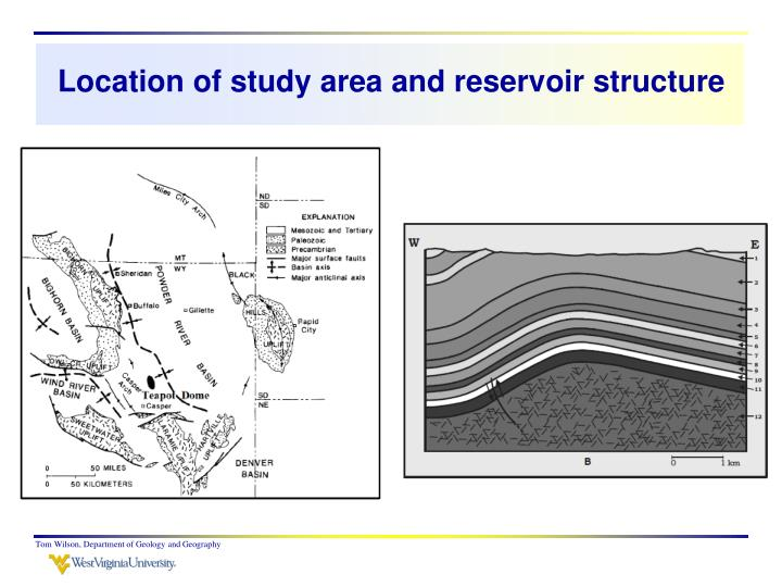 Location of study area and reservoir structure