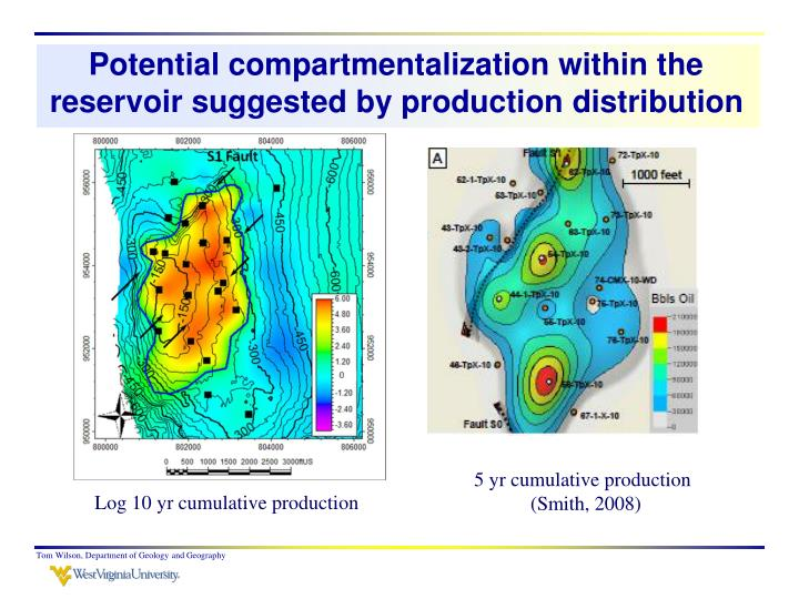Potential compartmentalization within the reservoir suggested by production distribution