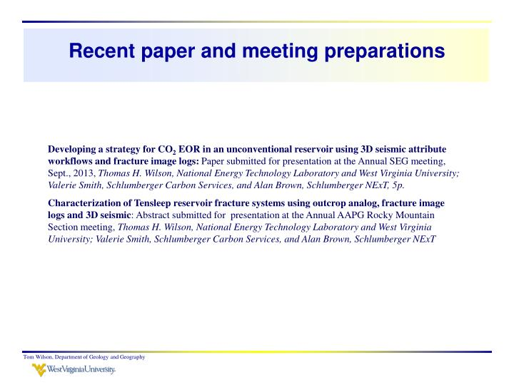 Recent paper and meeting preparations