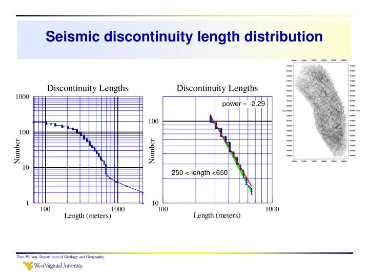 Seismic discontinuity length distribution