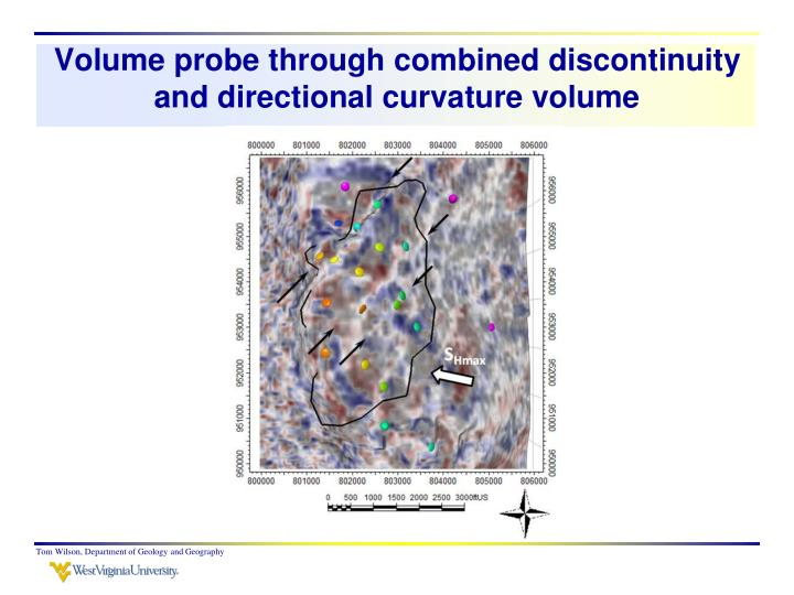 Volume probe through combined discontinuity and directional curvature volume