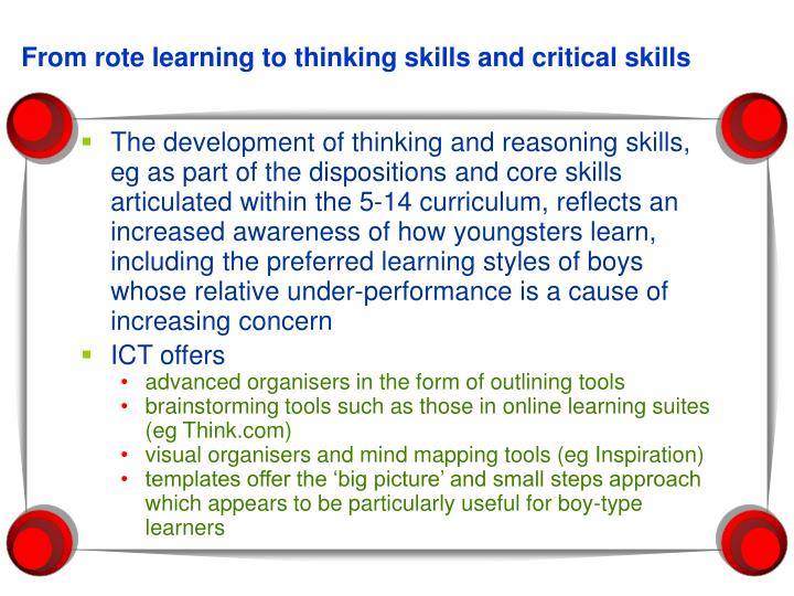 From rote learning to thinking skills and critical skills