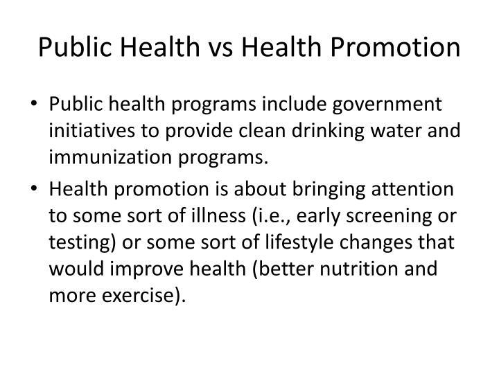 Public Health vs Health Promotion