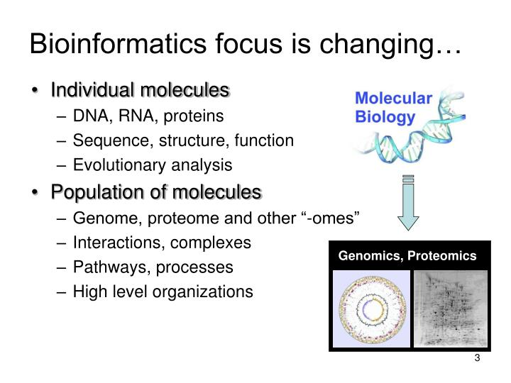 Bioinformatics focus is changing