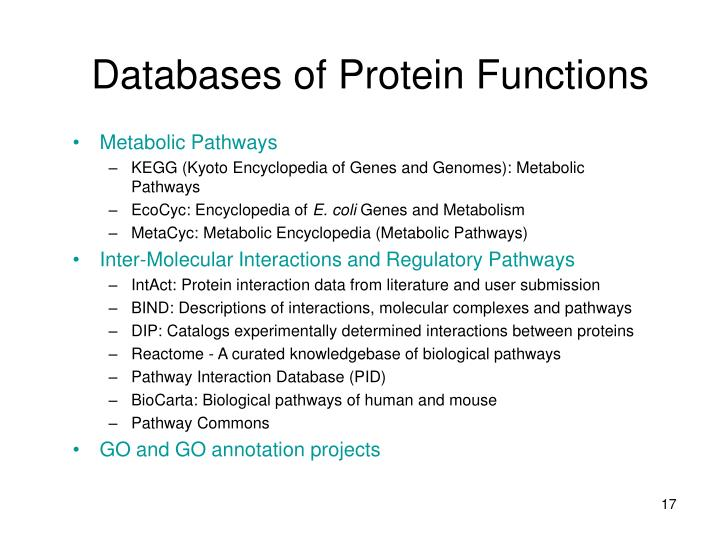 Databases of Protein Functions