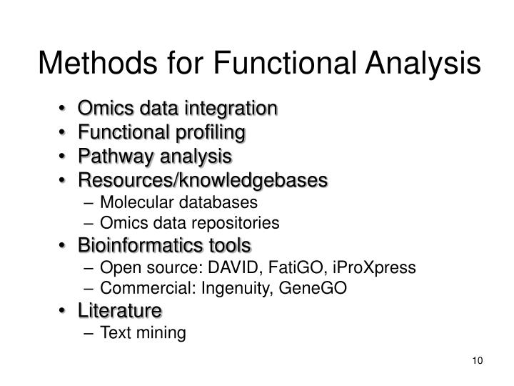 Methods for Functional Analysis