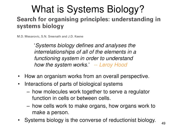 What is Systems Biology?