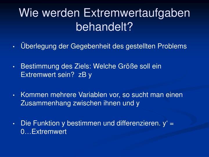 Wie werden Extremwertaufgaben behandelt?