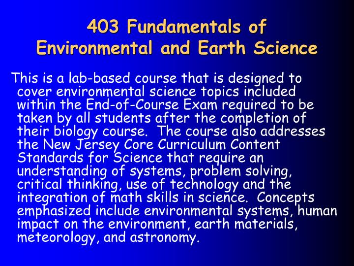 403 Fundamentals of Environmental and Earth Science