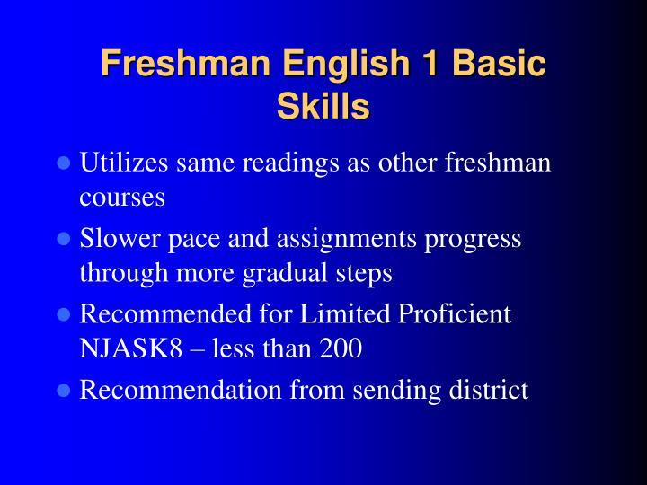 Freshman English 1 Basic Skills